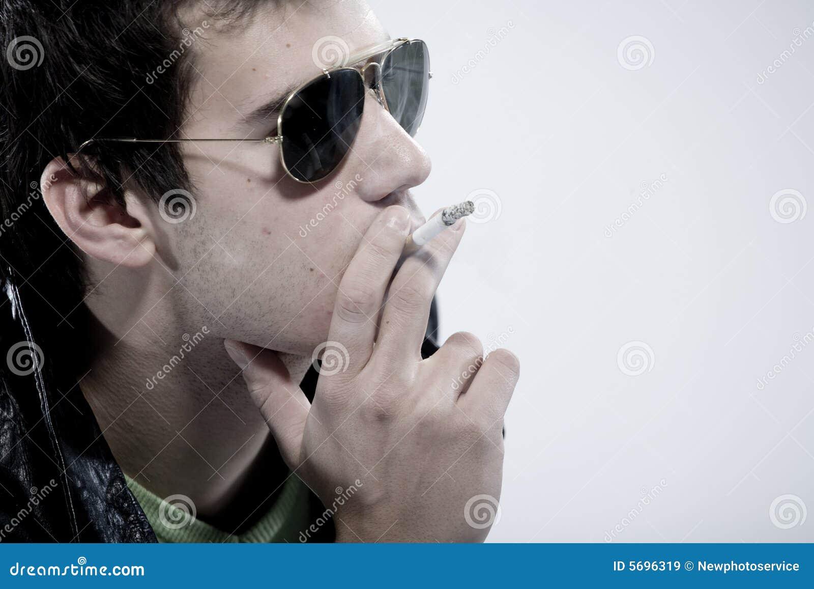 Boy smoking a cigarette
