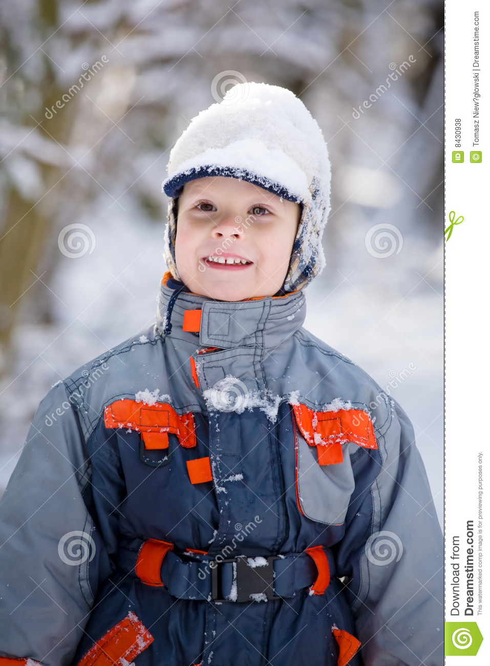 Boy and snow cap