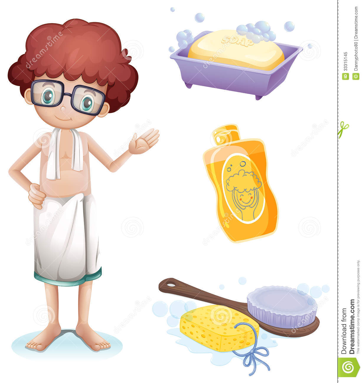 A Boy With A Soap Shampoo Brush And Sponge Royalty Free