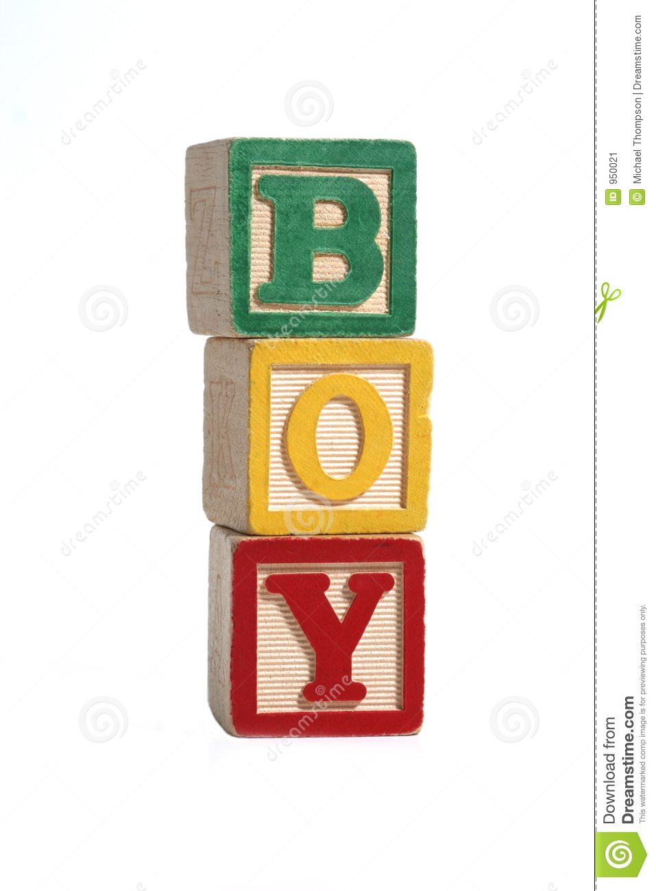 Boy Stacked Blocks Stock Image Image 950021