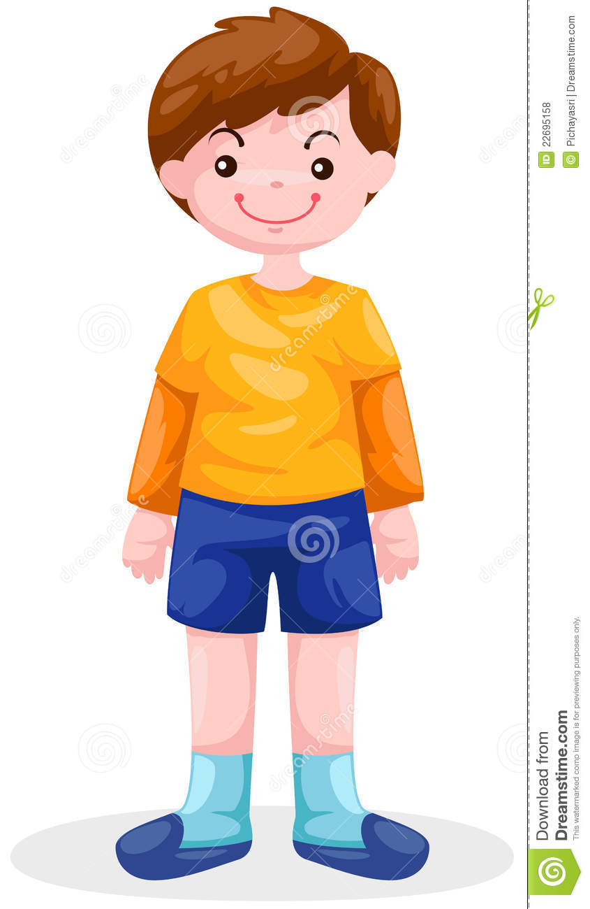 Boy standing stock vector. Illustration of child, casual ...