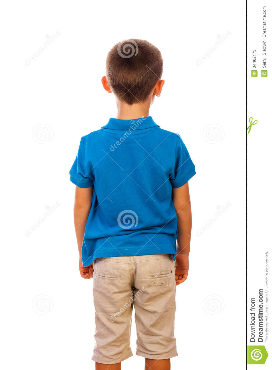 ... boy turned by a back in a shot was photographed on a white background