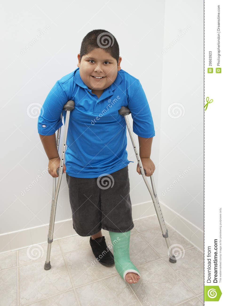 Boy Standing With Crutches Stock Image Image Of Illness