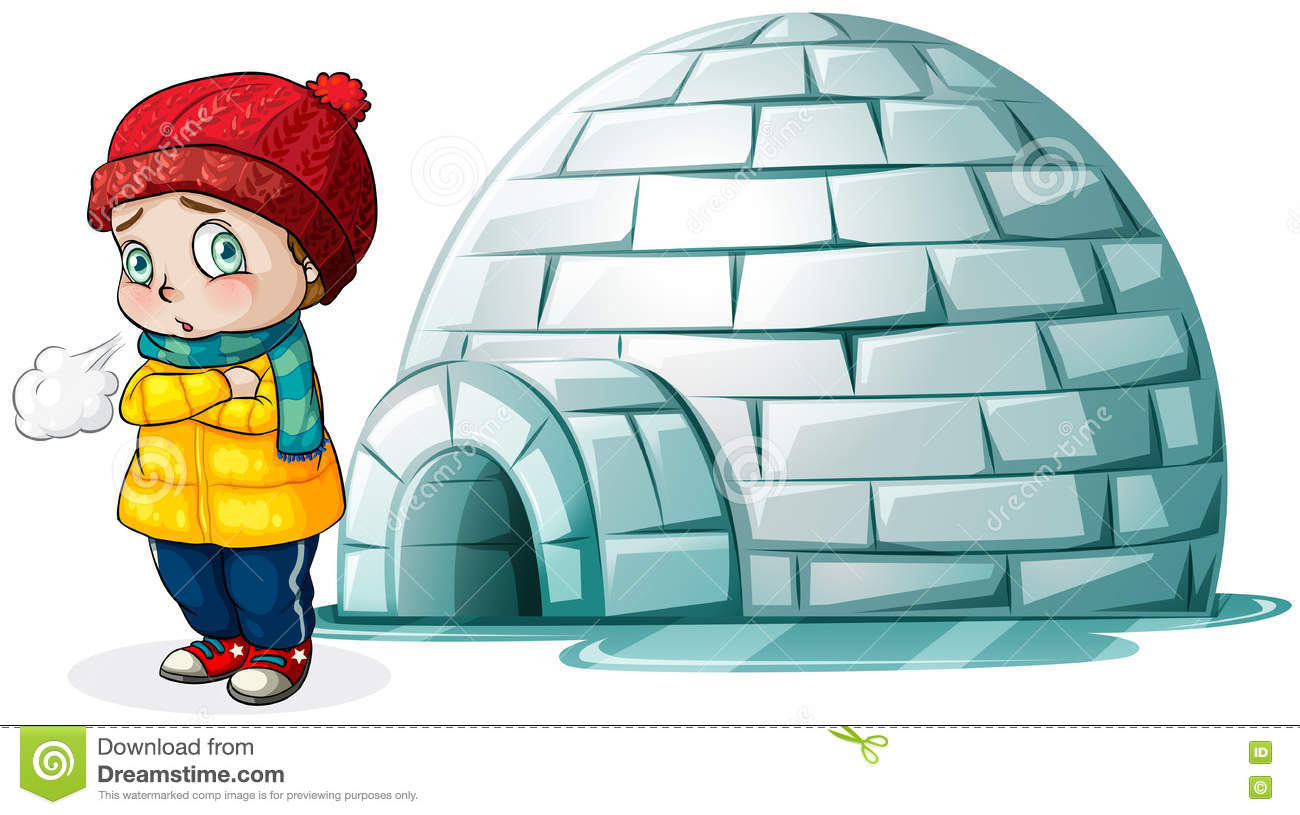 boy standing in front of igloo stock vector illustration of rh dreamstime com igloo clip art free igloo clipart free