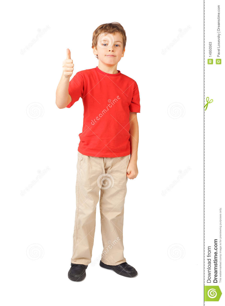 boy standing on white thumbsup gesture stock image image