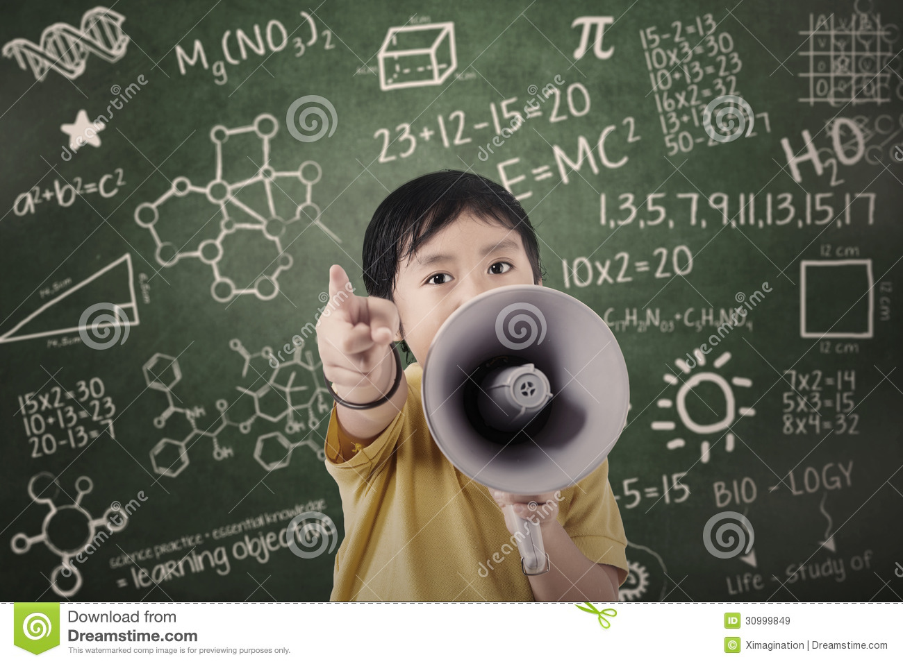 Boy Student Announce With Speaker At Class Royalty Free Stock Images ...