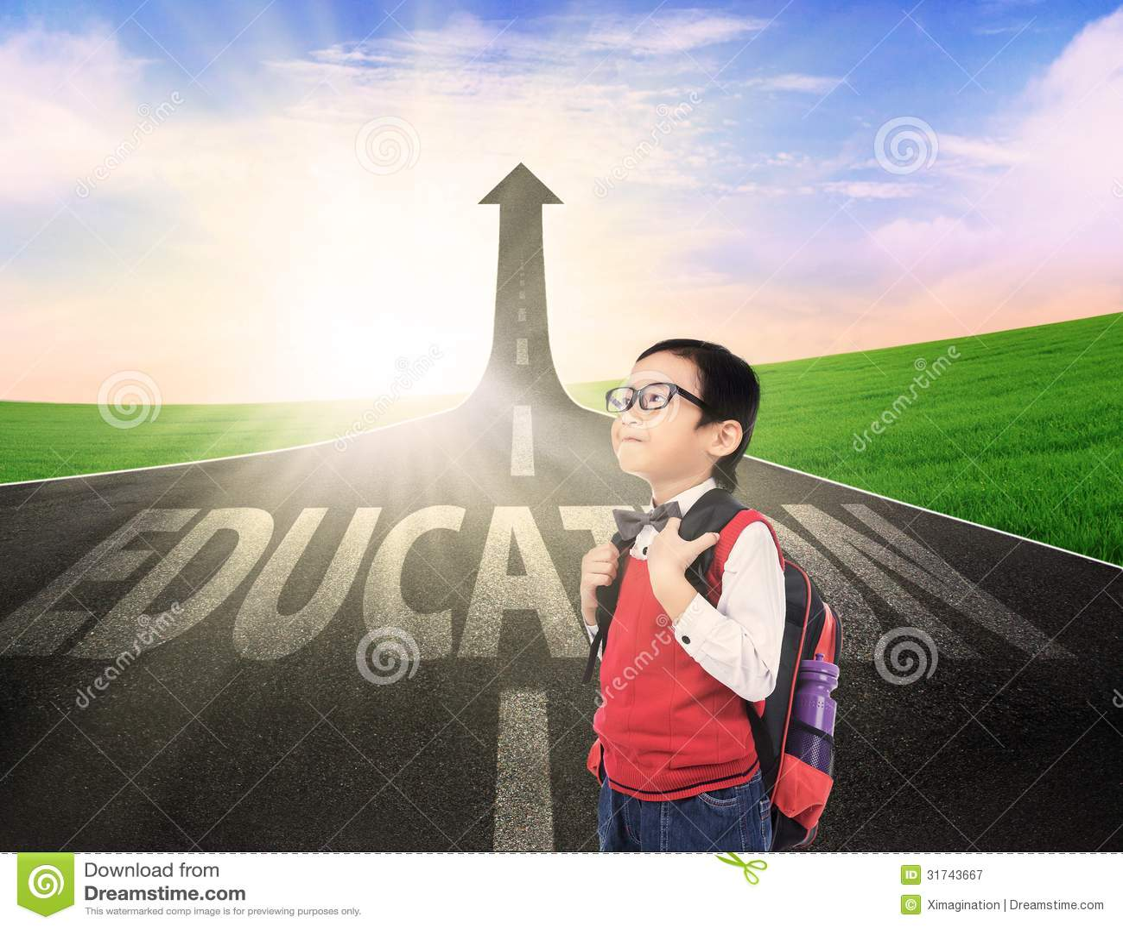 Boy Student On Education Success Road Stock Illustration ...