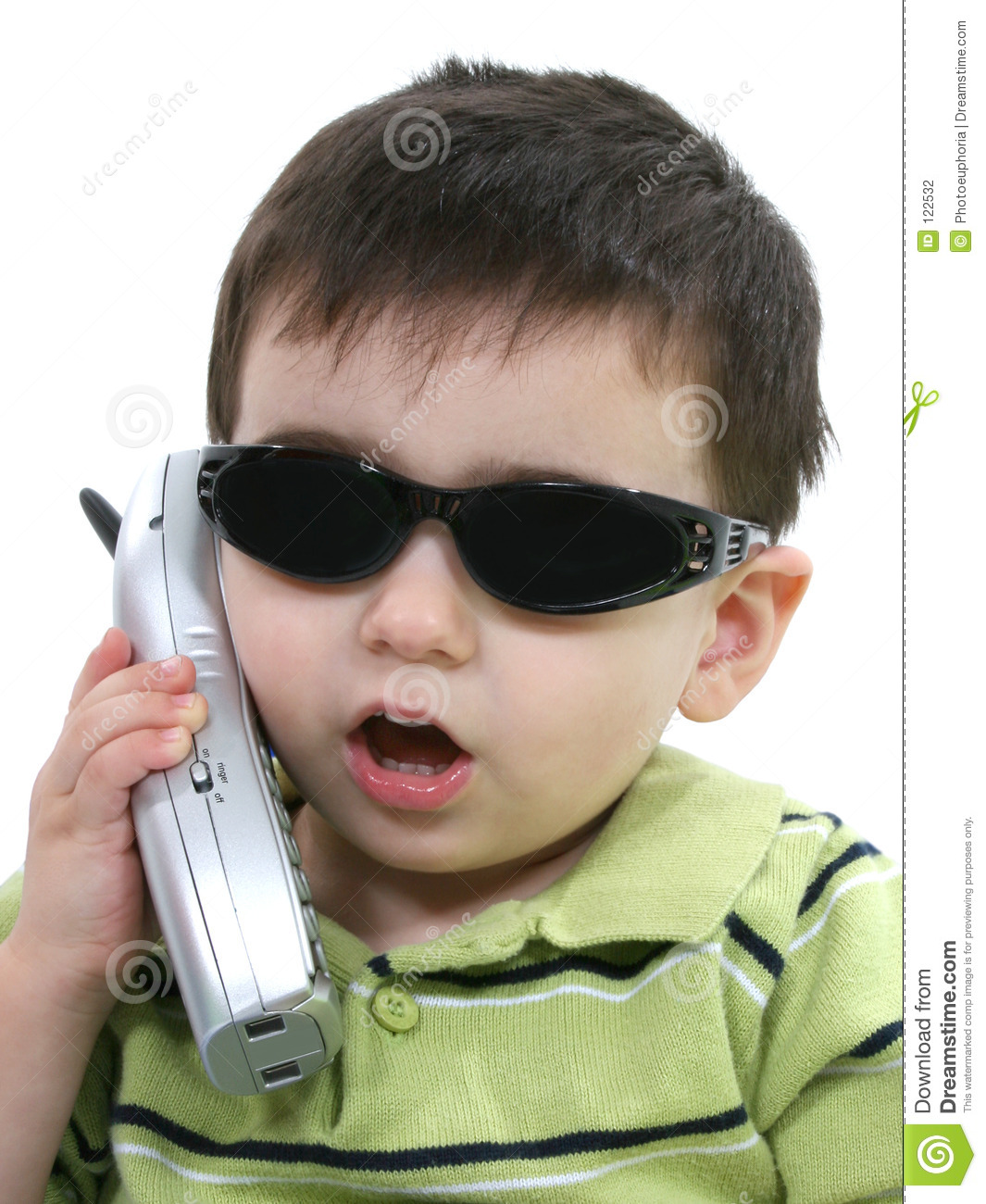 Boy In Sunglasses Speaking On The Phone Over White Stock Photography ...