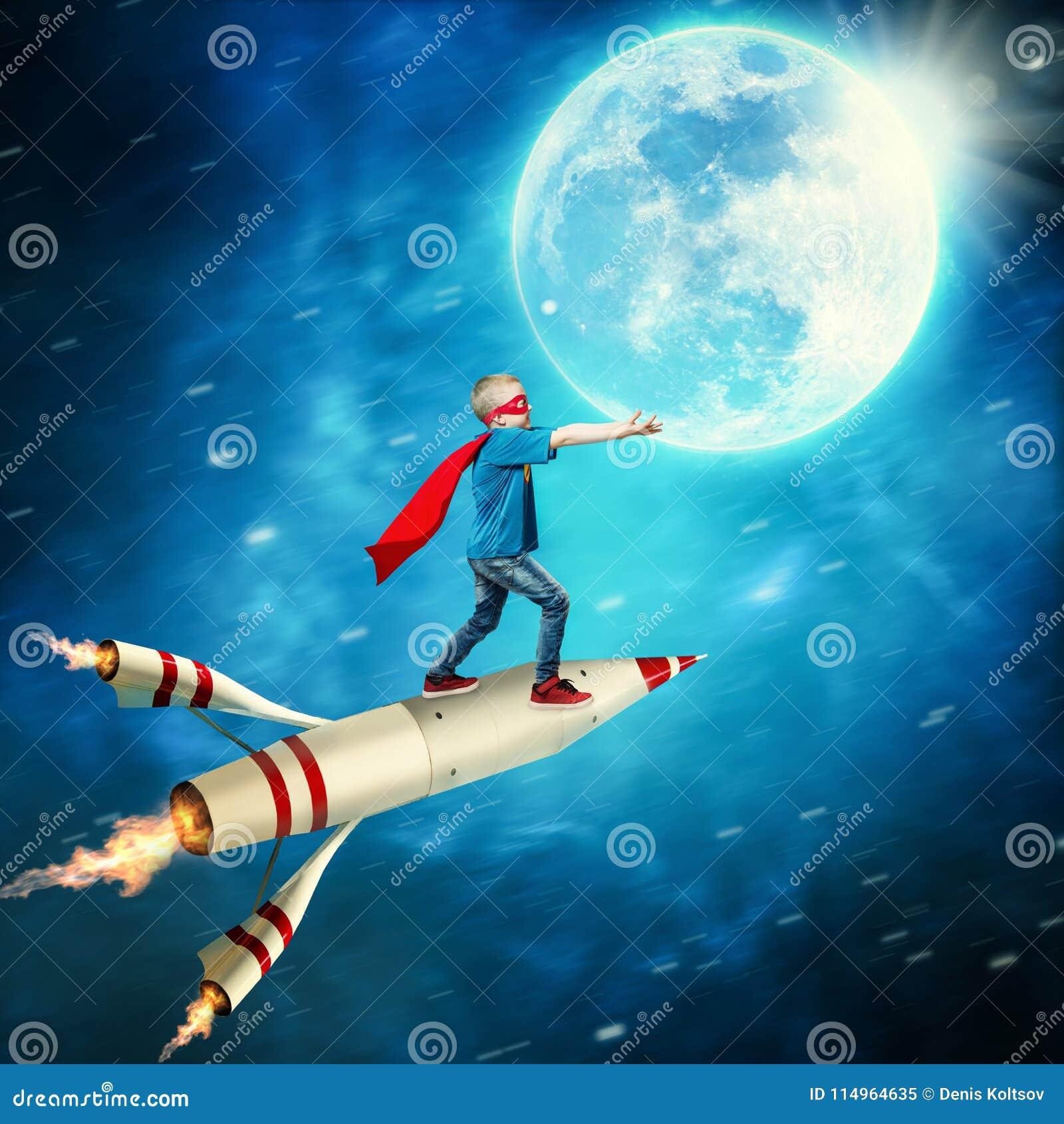 Boy in superhero costume guard the planet.