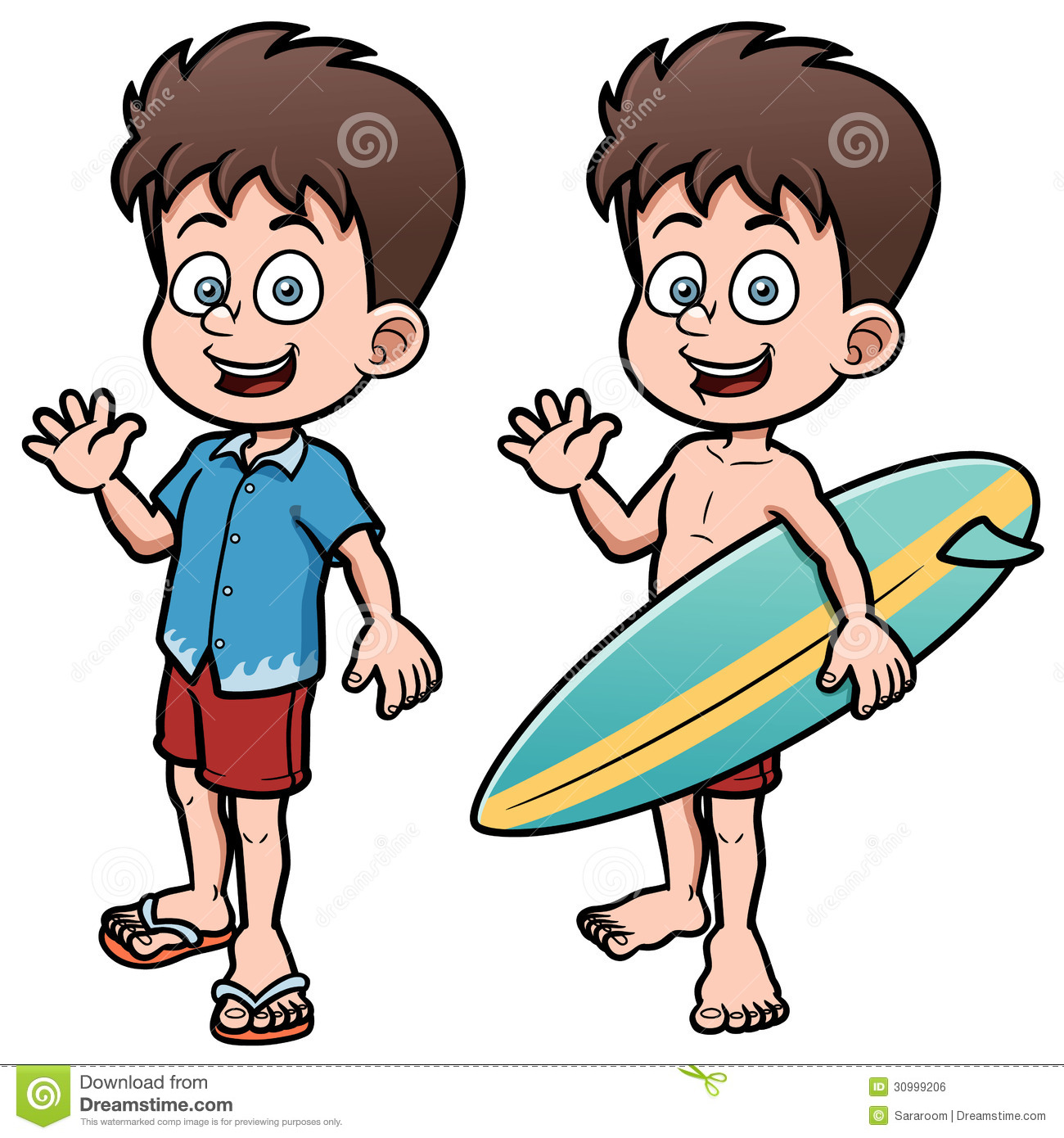 Surfer Holding Surfboard Cartoon Picture