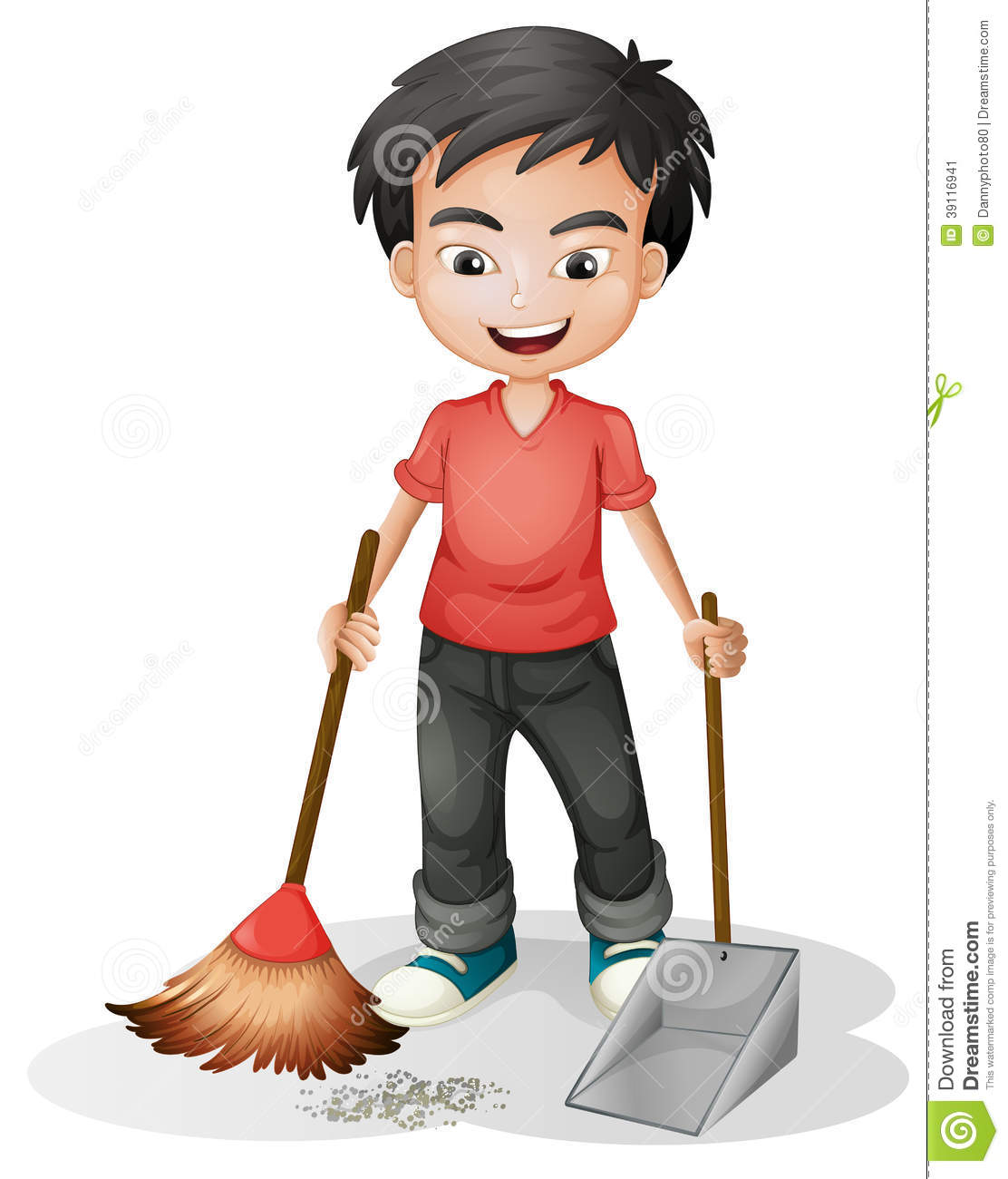 A boy sweeping the dirt stock vector. Illustration of ...
