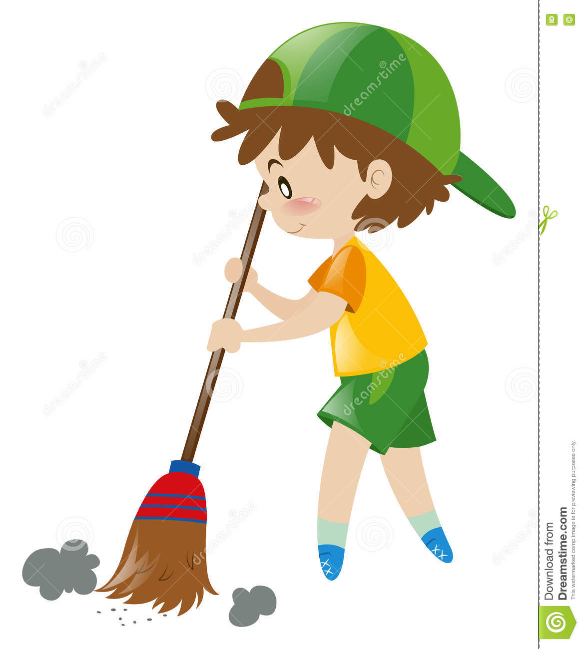 Boy Sweeping Floor With Broom Stock Vector Illustration