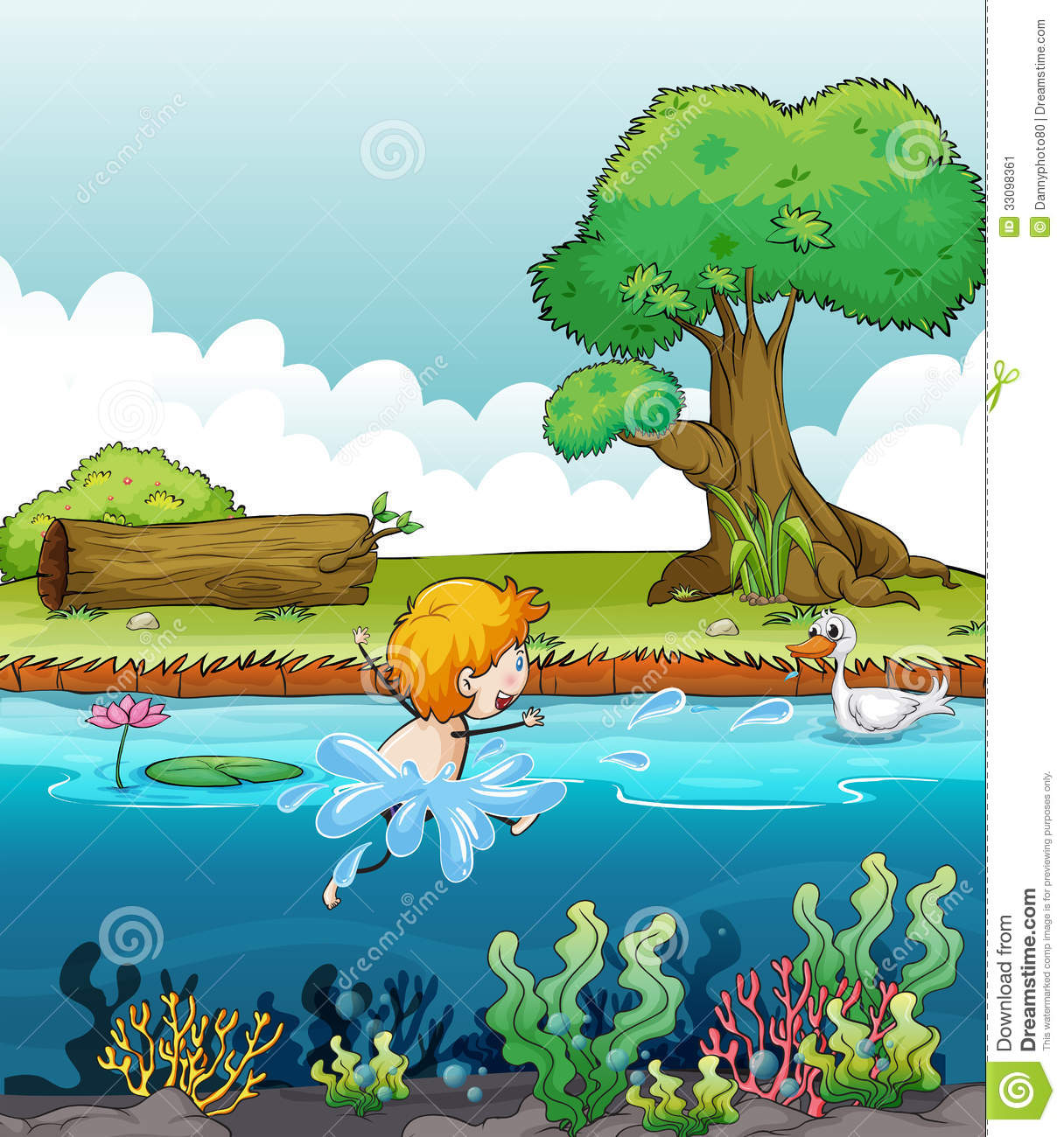A Boy Swimming With A Duck In The River Stock Vector ...