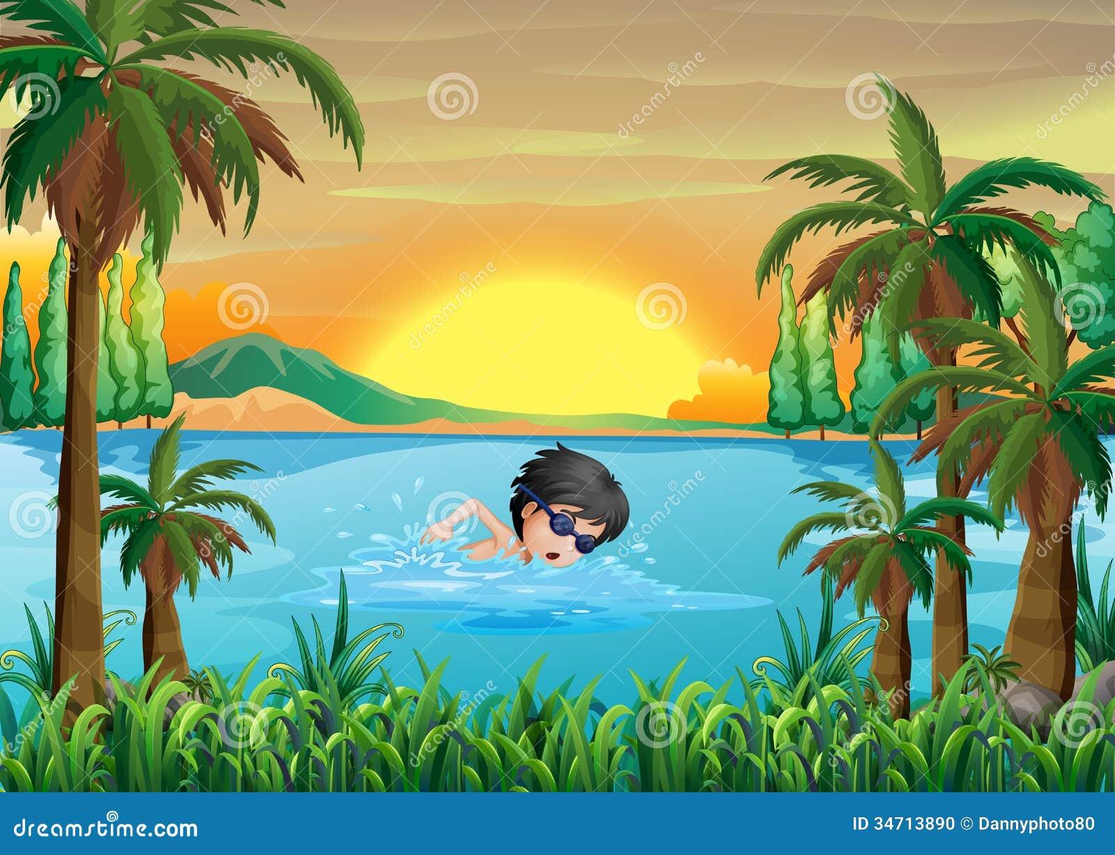 a boy swimming at the lake stock photo image 34713890