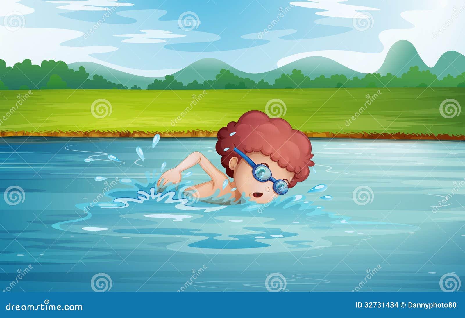 boy swimming river - photo #23
