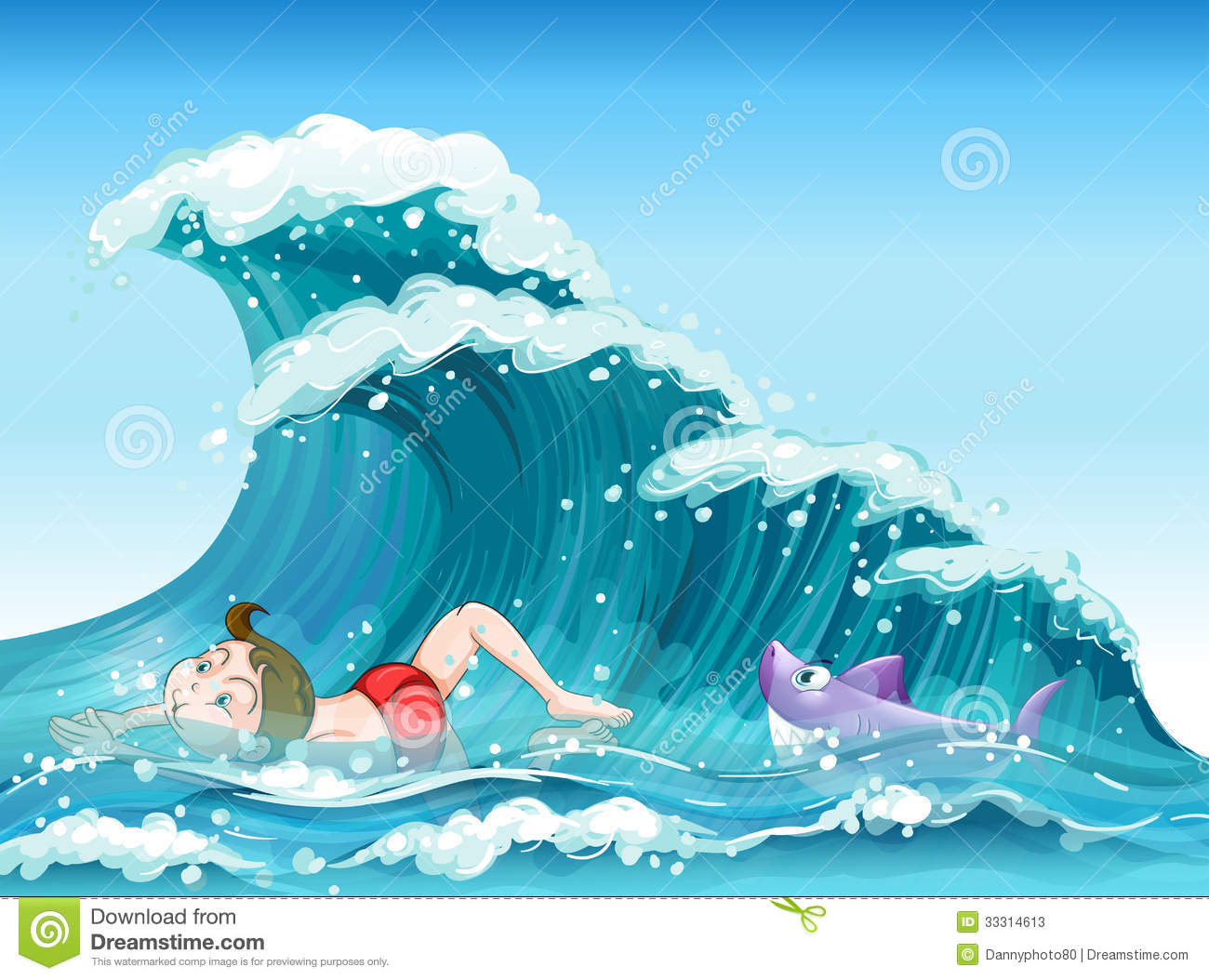 a boy swimming a shark at the back stock photos image 33314613 a boy swimming a shark at the back