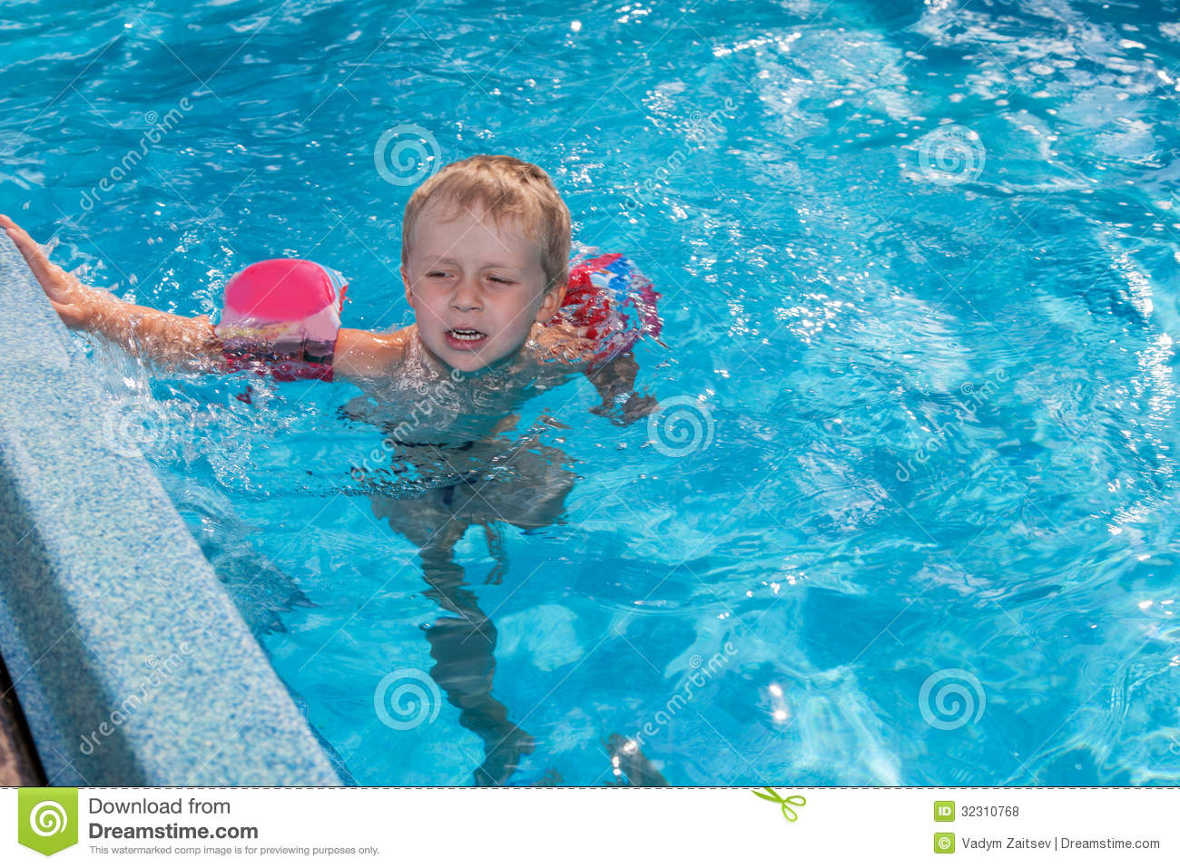 Boy Swims In The Pool Royalty Free Stock Photos Image 32310768