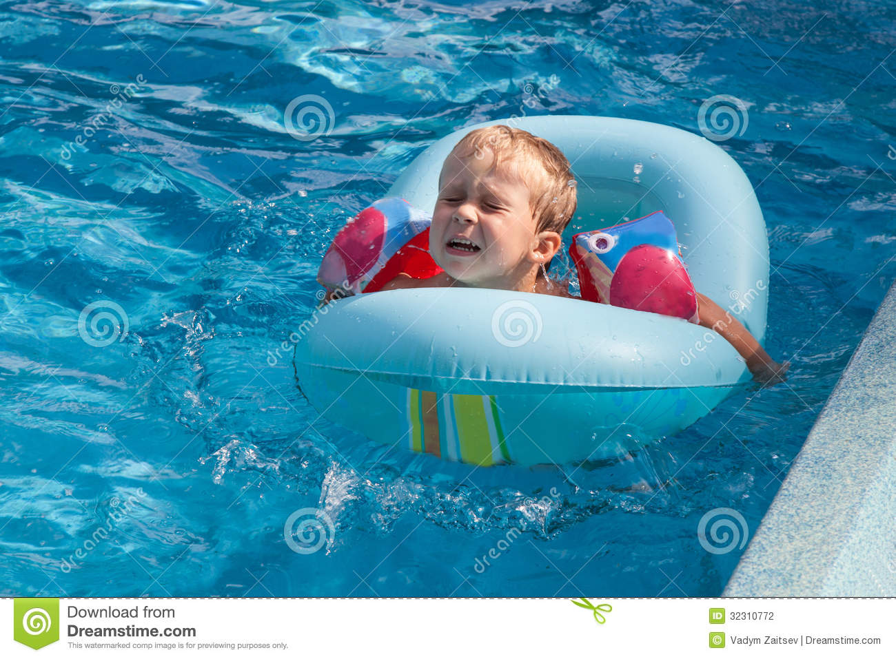 Boy Swims In The Pool Stock Photography Image 32310772