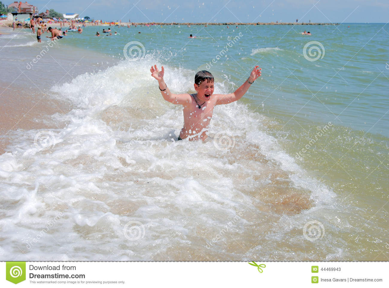 azov boy The Boy Swims In The Sea Stock Photo