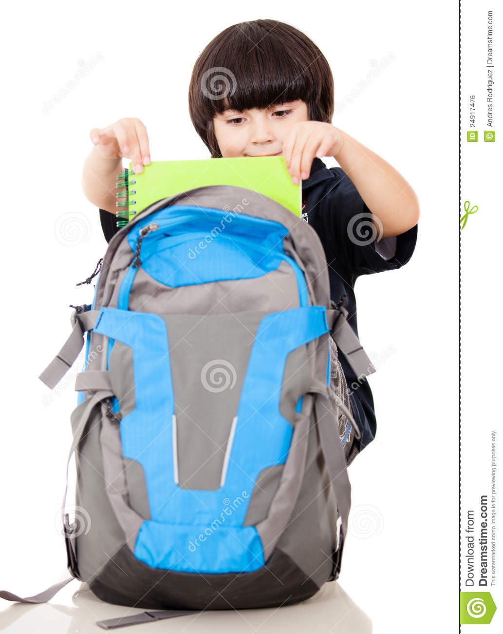 Boy Taking Notebooks Out Of Backpack Stock Photo Image