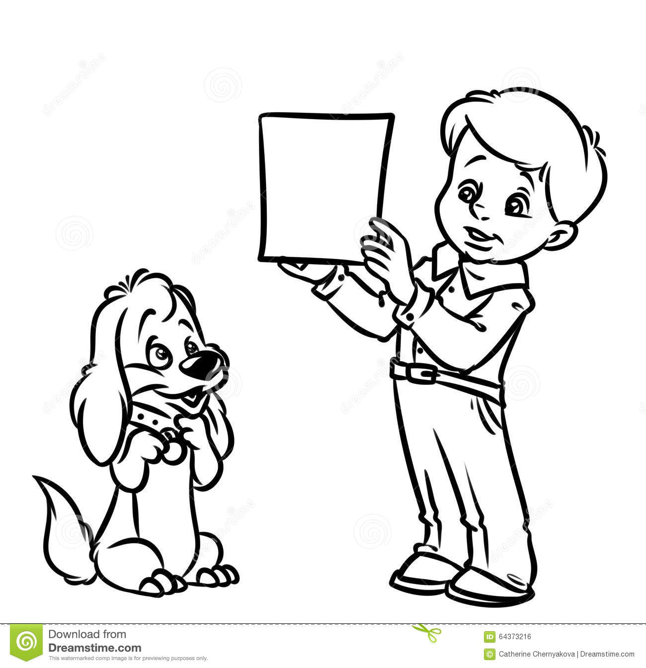 a boy and his dog coloring pages - photo #15