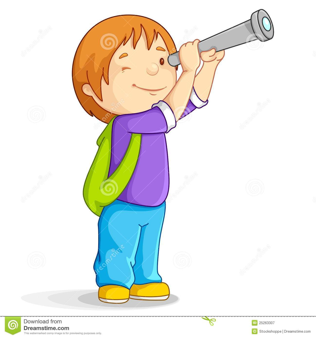 boy with telescope stock vector illustration of moon 25263307