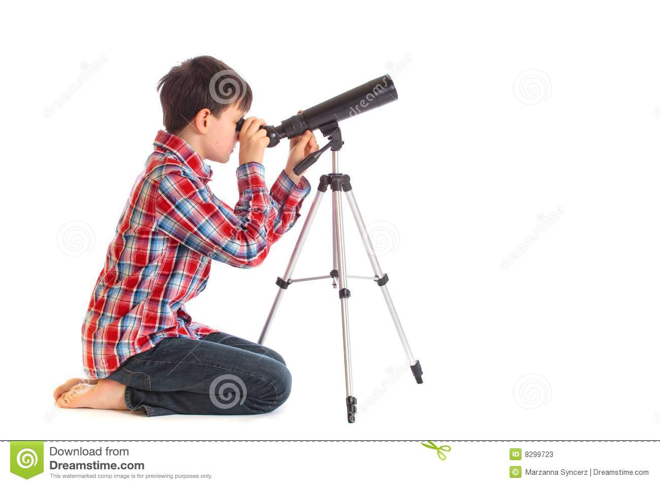 Boy With Telescope Stock Photos - Image: 8299723