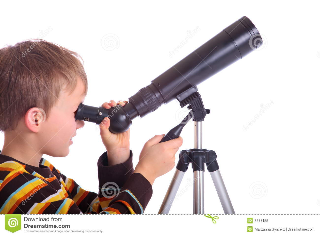 Boy With Telescope Royalty Free Stock Photo - Image: 8377155
