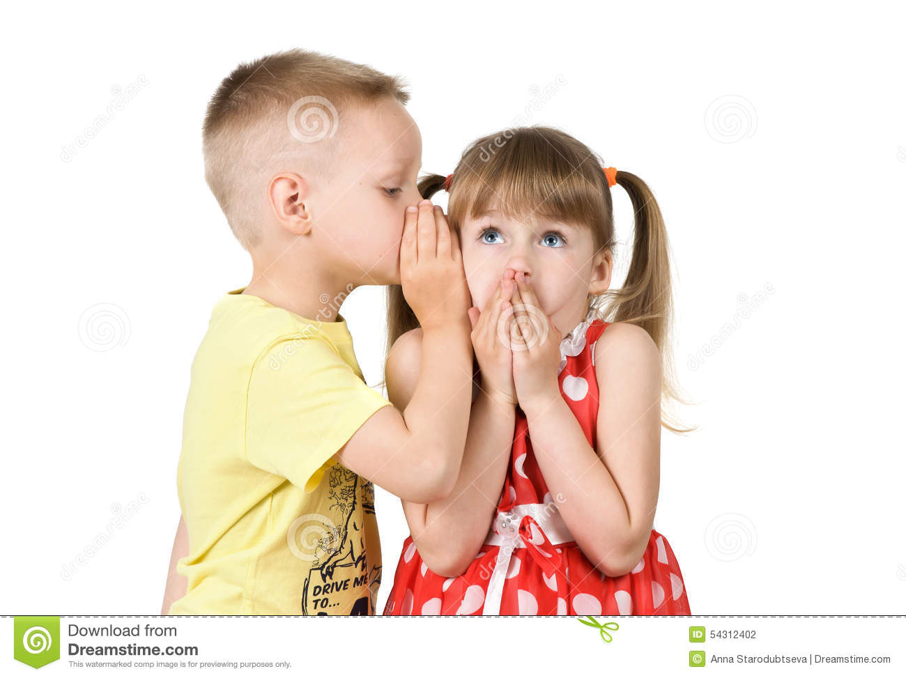 Boy Is Telling A Secret To A Girls Ear Stock Photo - Image: 54312402