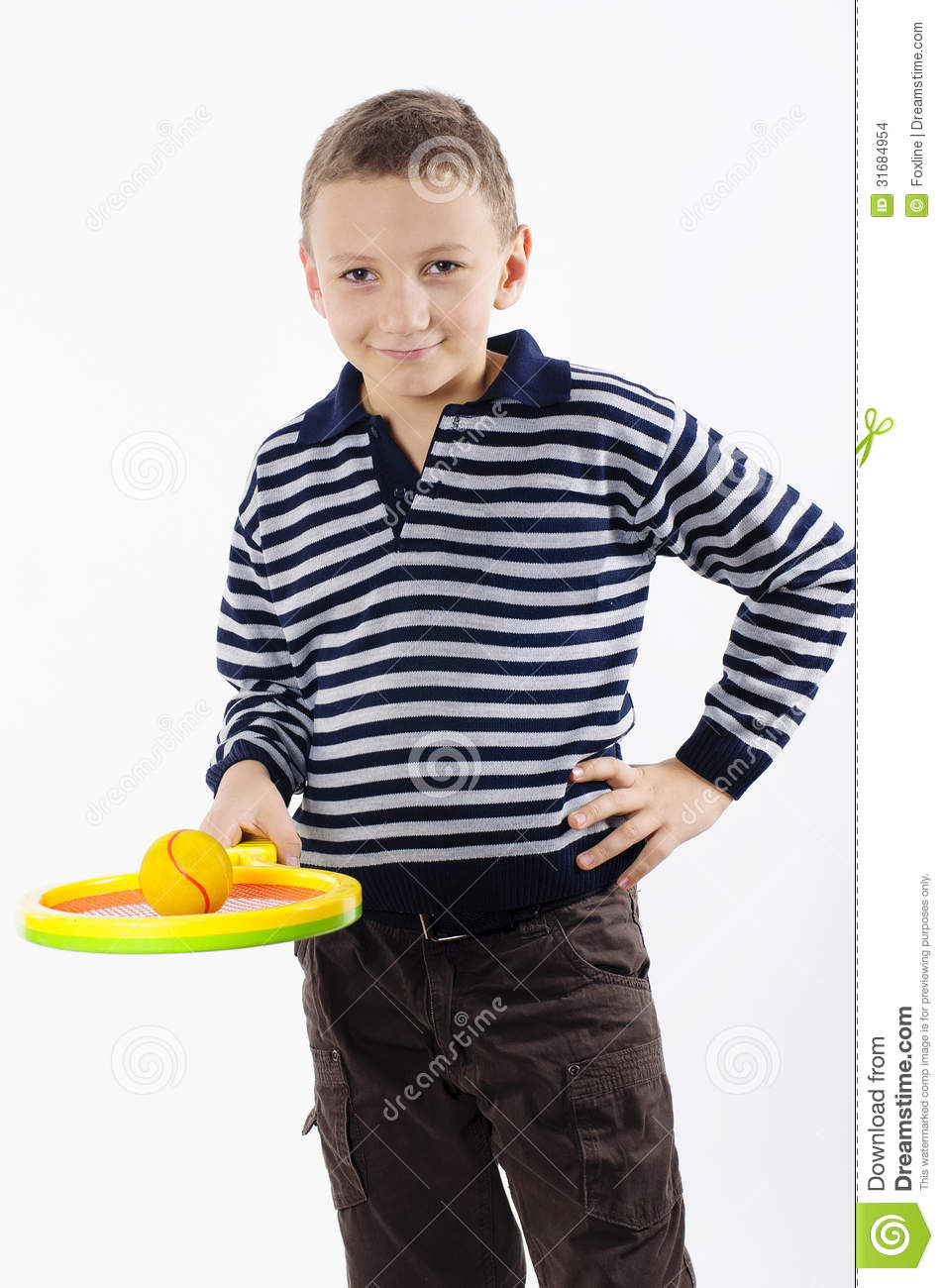 Boy with a tennis racket stock photo. Image of leisure ...