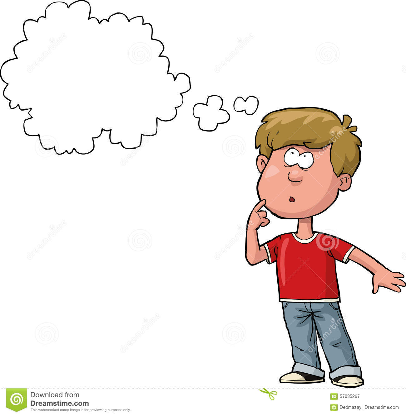 Boy Thinking Stock Vector Image 57035267