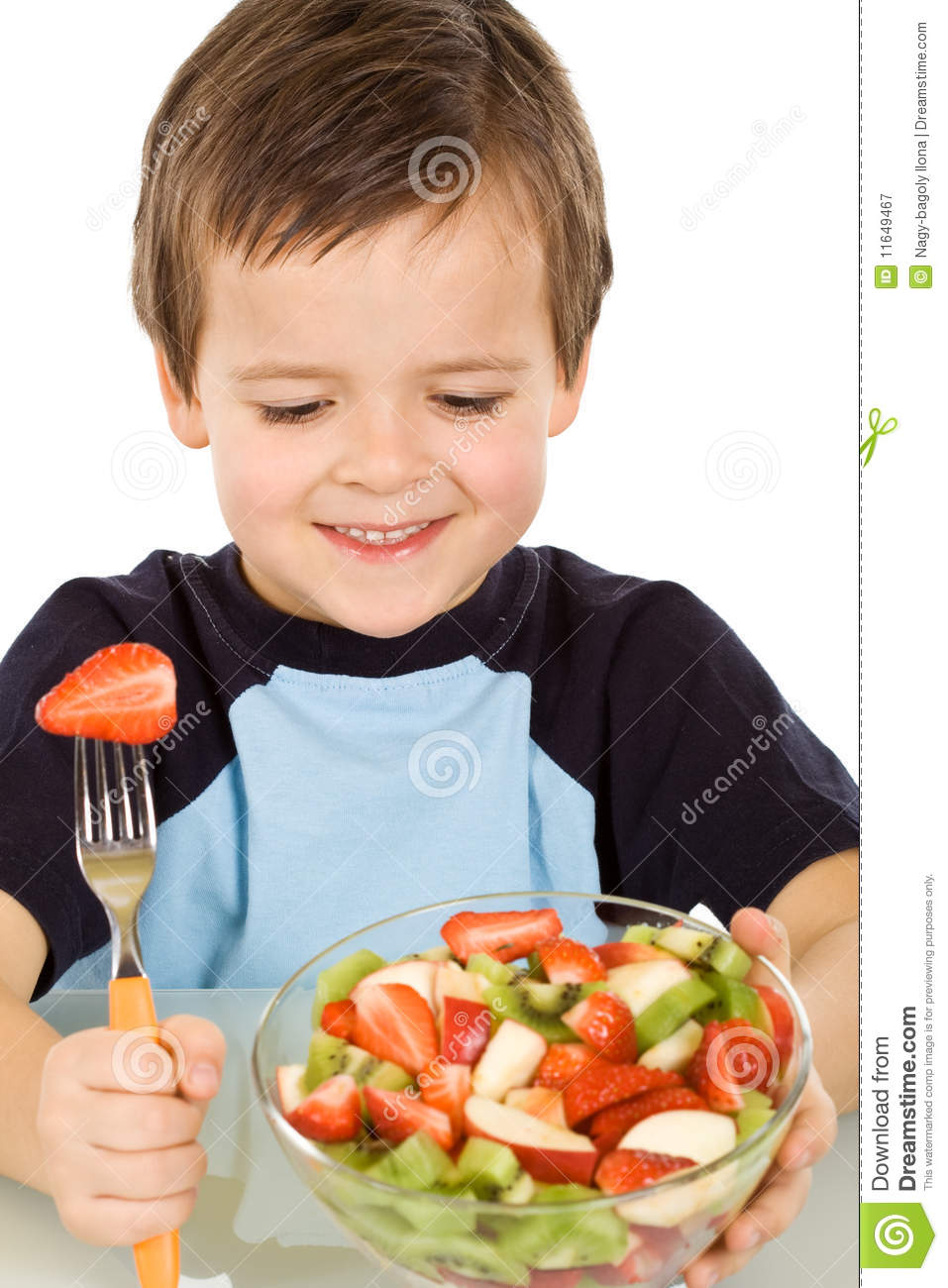 Boy About To Eat A Large Bowl Of Fresh Fruit Salad Royalty Free Stock ...