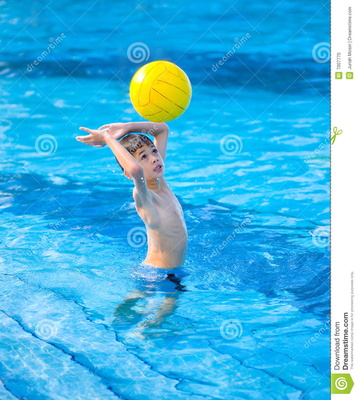 Boy About To Hit A Ball In Swimming Pool Stock Photo Image Of Polo Head 7007770