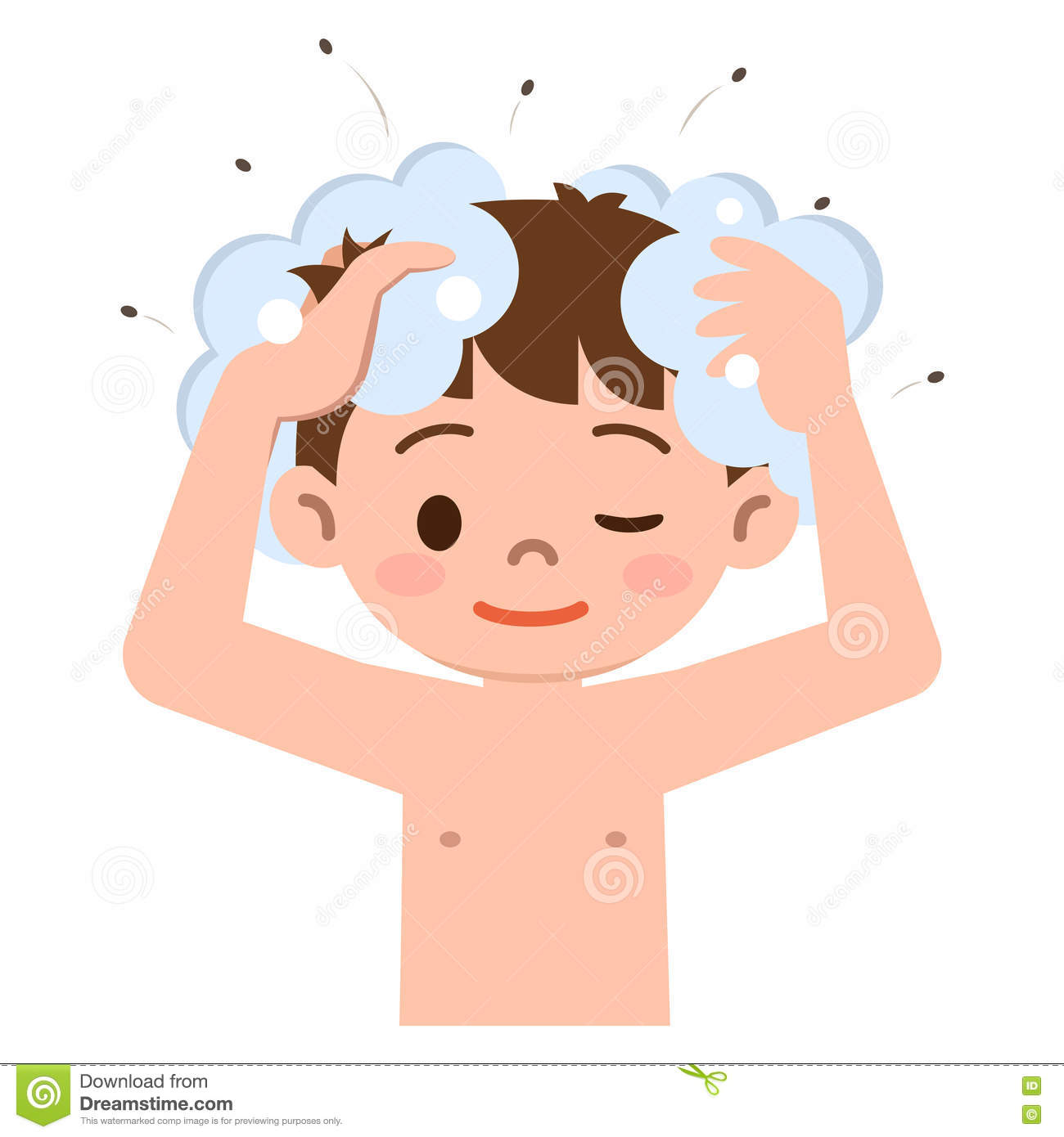 Boy To Wash The Hair In The Extermination Of Shampoo Lice