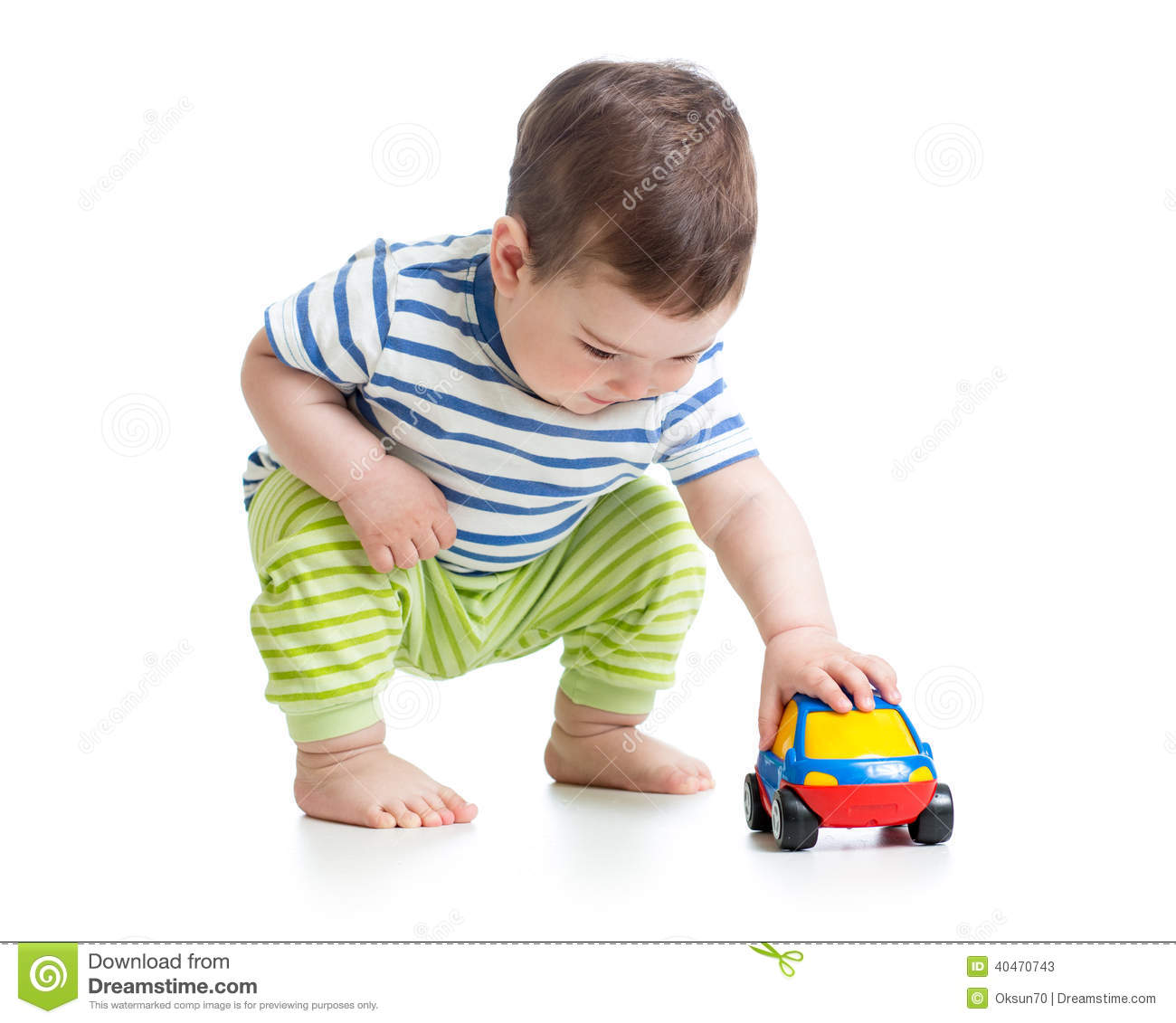 Boy Toddler Playing With Toy Car Stock Image Image Of Hands