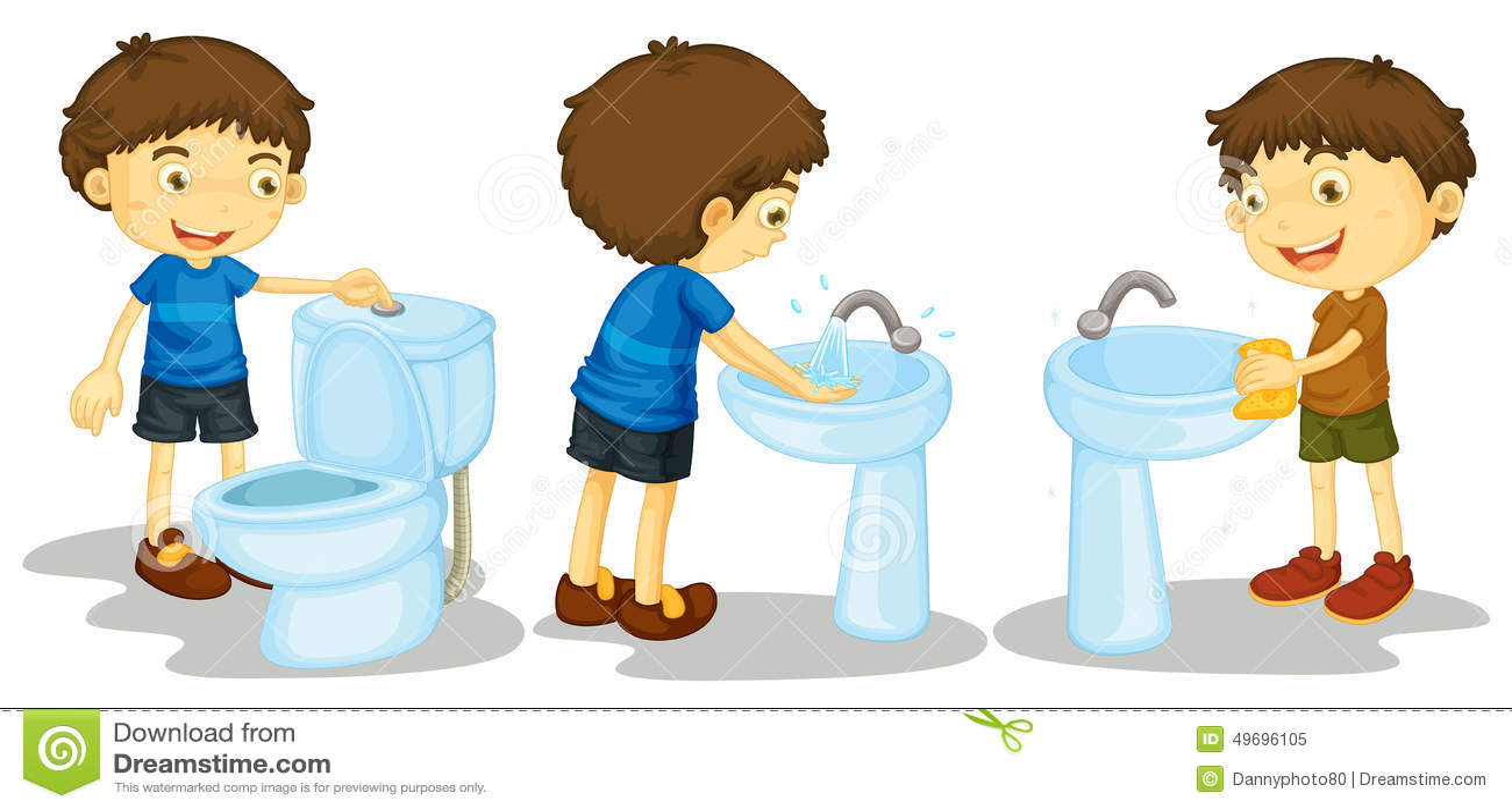 Boy And Toilet Stock Illustration Image 49696105