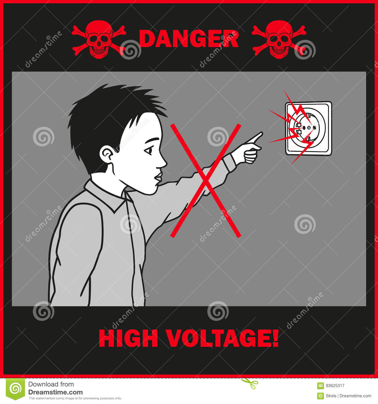 Boy Touches To An Electrical Outlet. Stock Vector - Illustration of ...