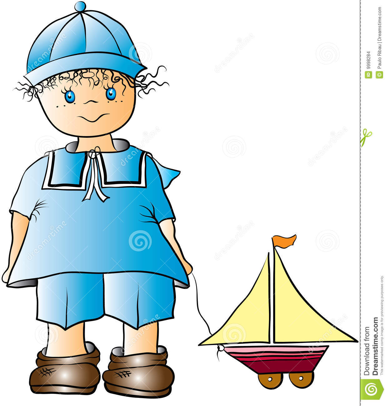Boy And Toy Boat Cartoon Stock Images