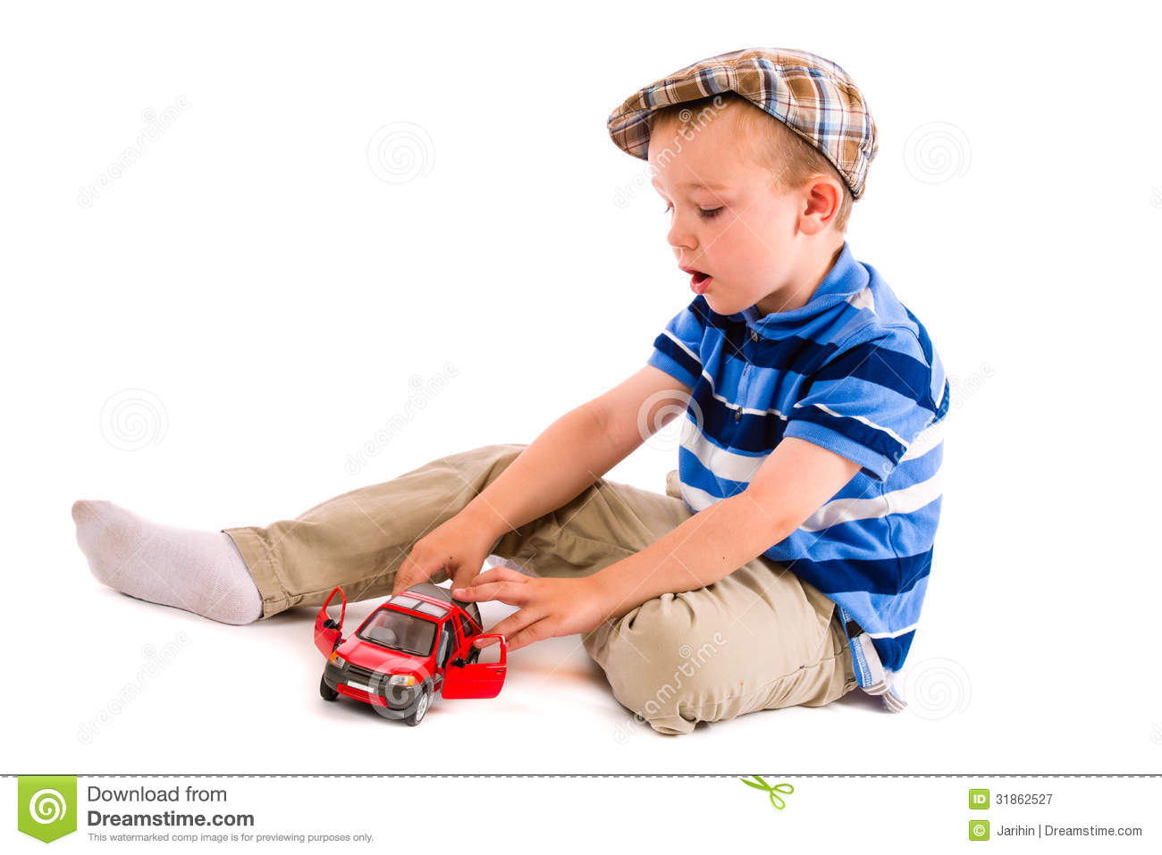 Little Boy With Toy Car : Boy and toy car royalty free stock photography image