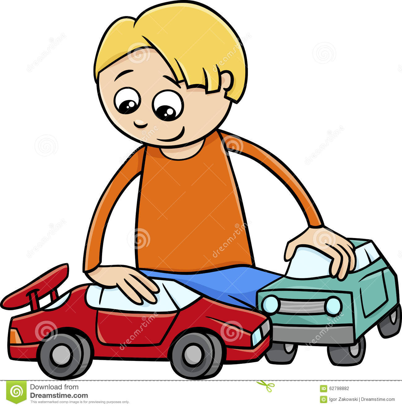 Boy With Toy Cars Cartoon Stock Vector - Image: 62798882