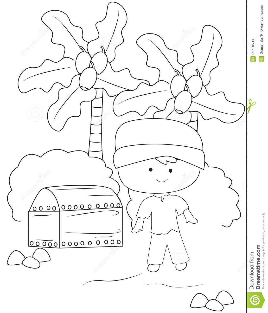 boy with a treasure chest coloring page stock illustration image