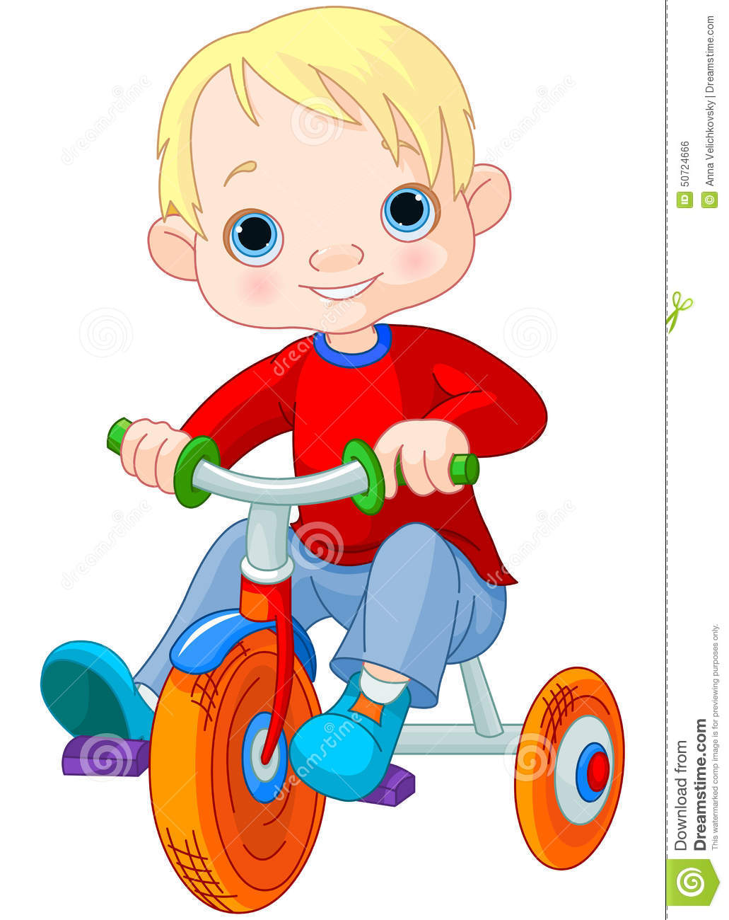 Tricycle Wheel Clip Art : Boy on tricycle stock vector image