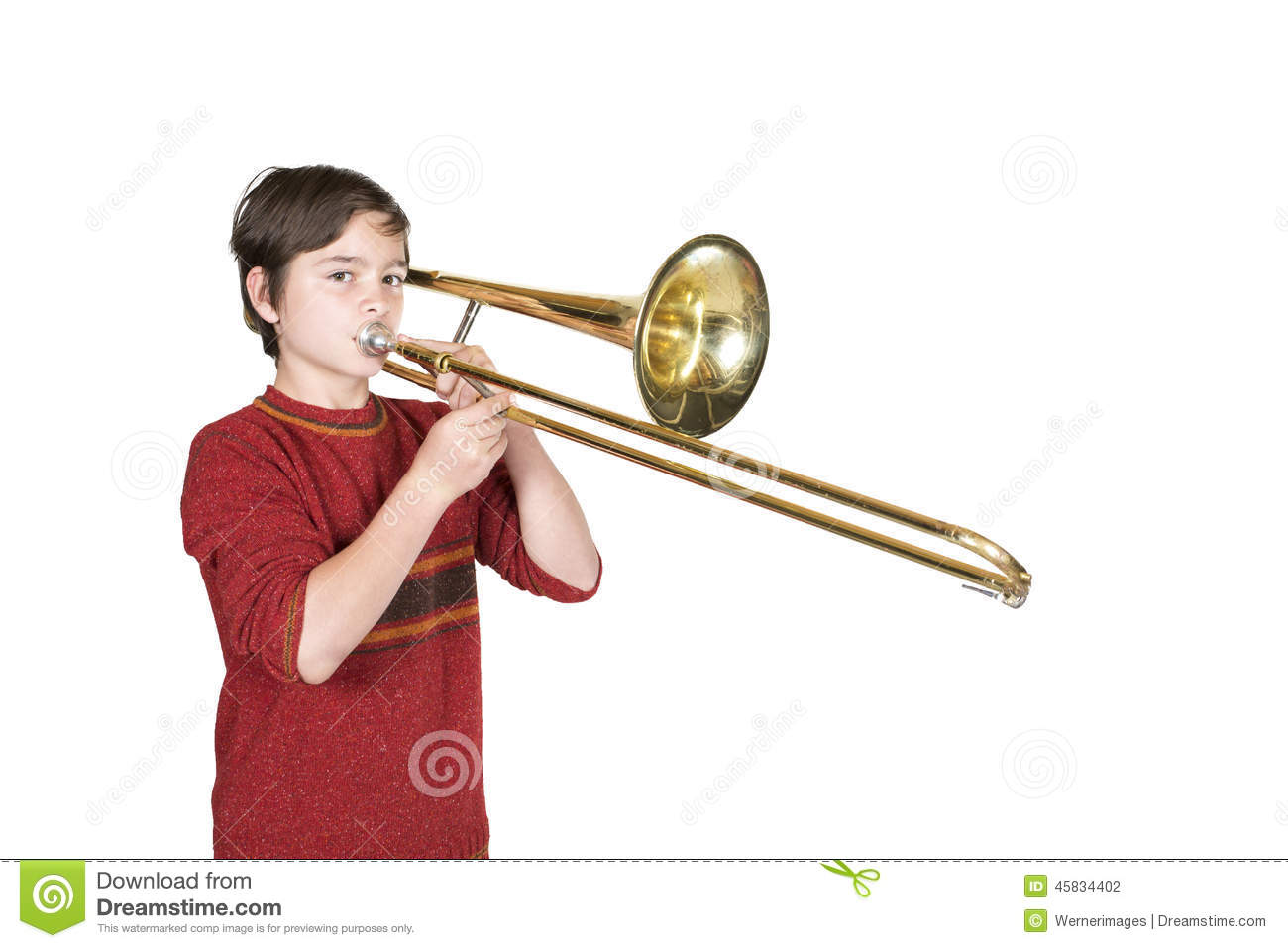 Boy With A Trombone Stock Photo - Image: 45834402