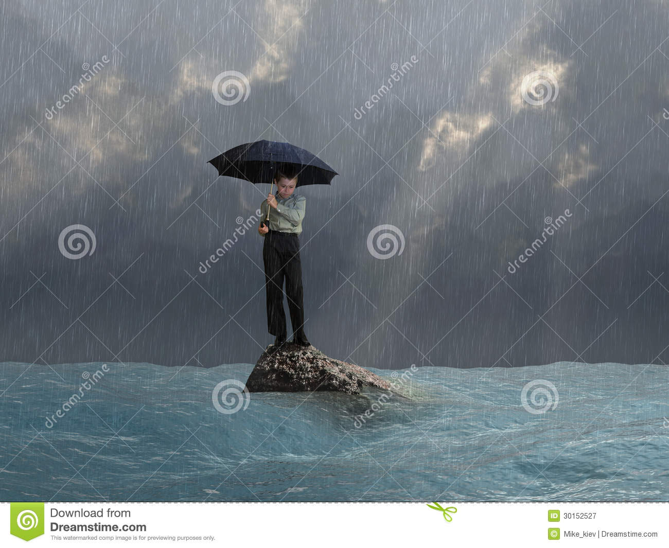 Man with an umbrella in the flood