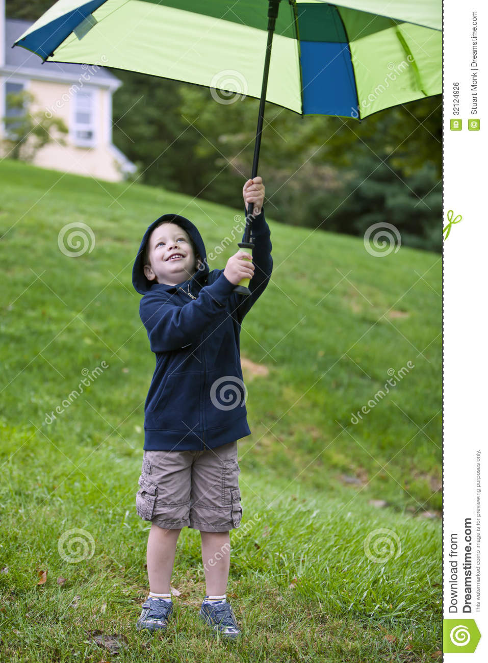 boy with umbrella stock photo image of male rainy protection