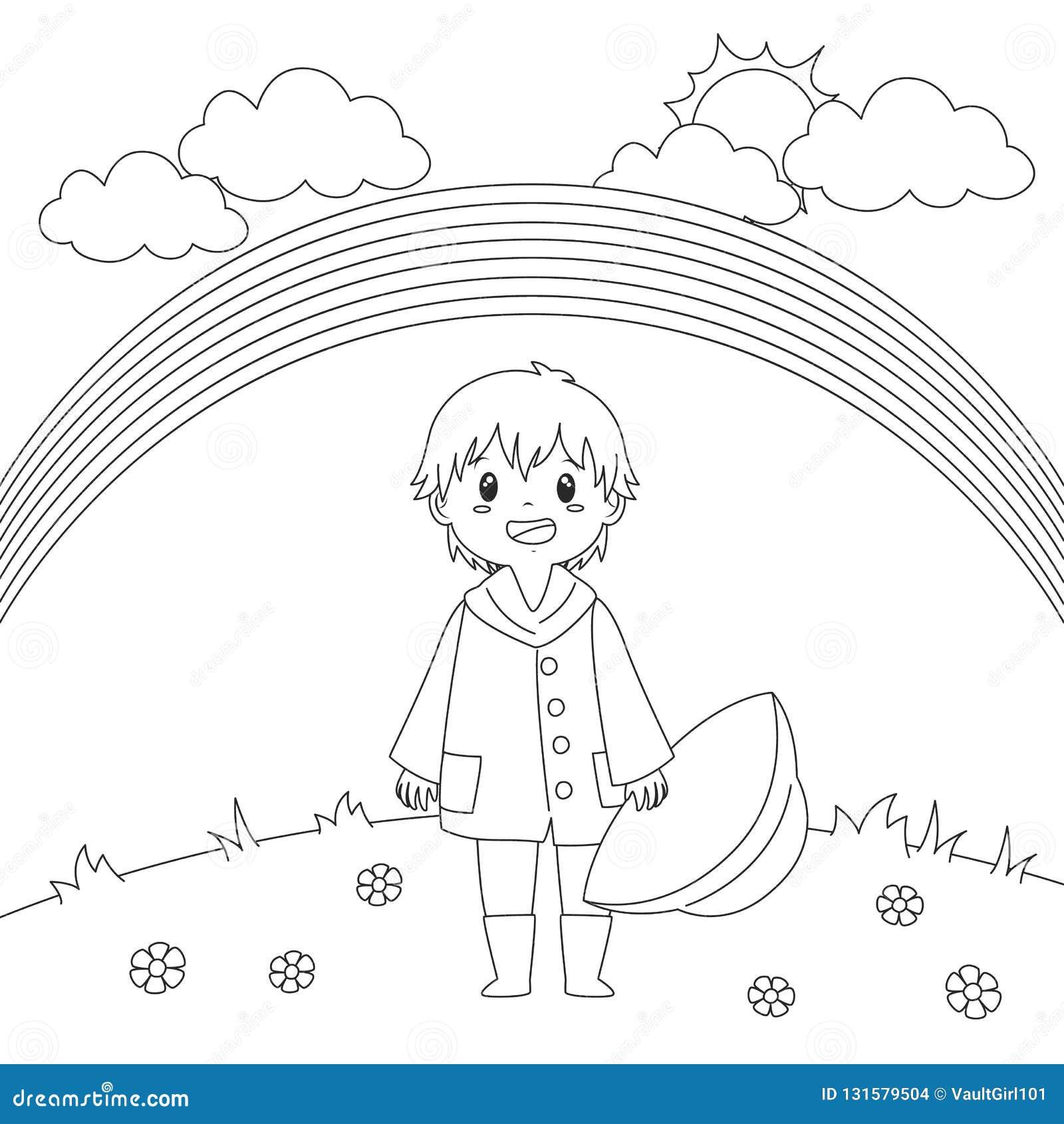 Boy Under The Rainbow Coloring Page Vector Design Stock Vector
