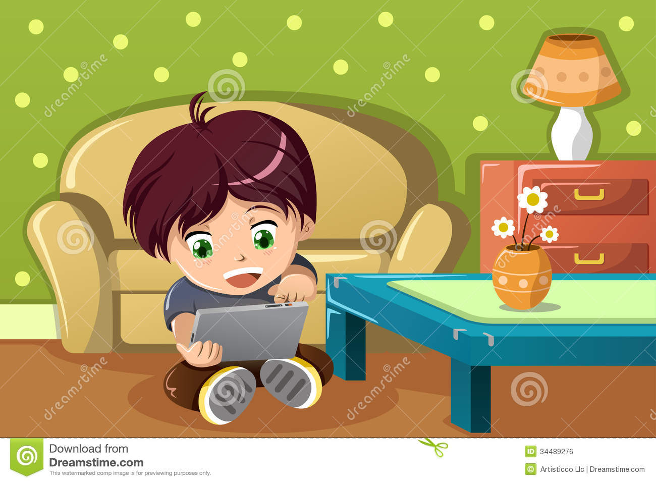 Boy Using A Tablet Pc Stock Vector Image Of Room