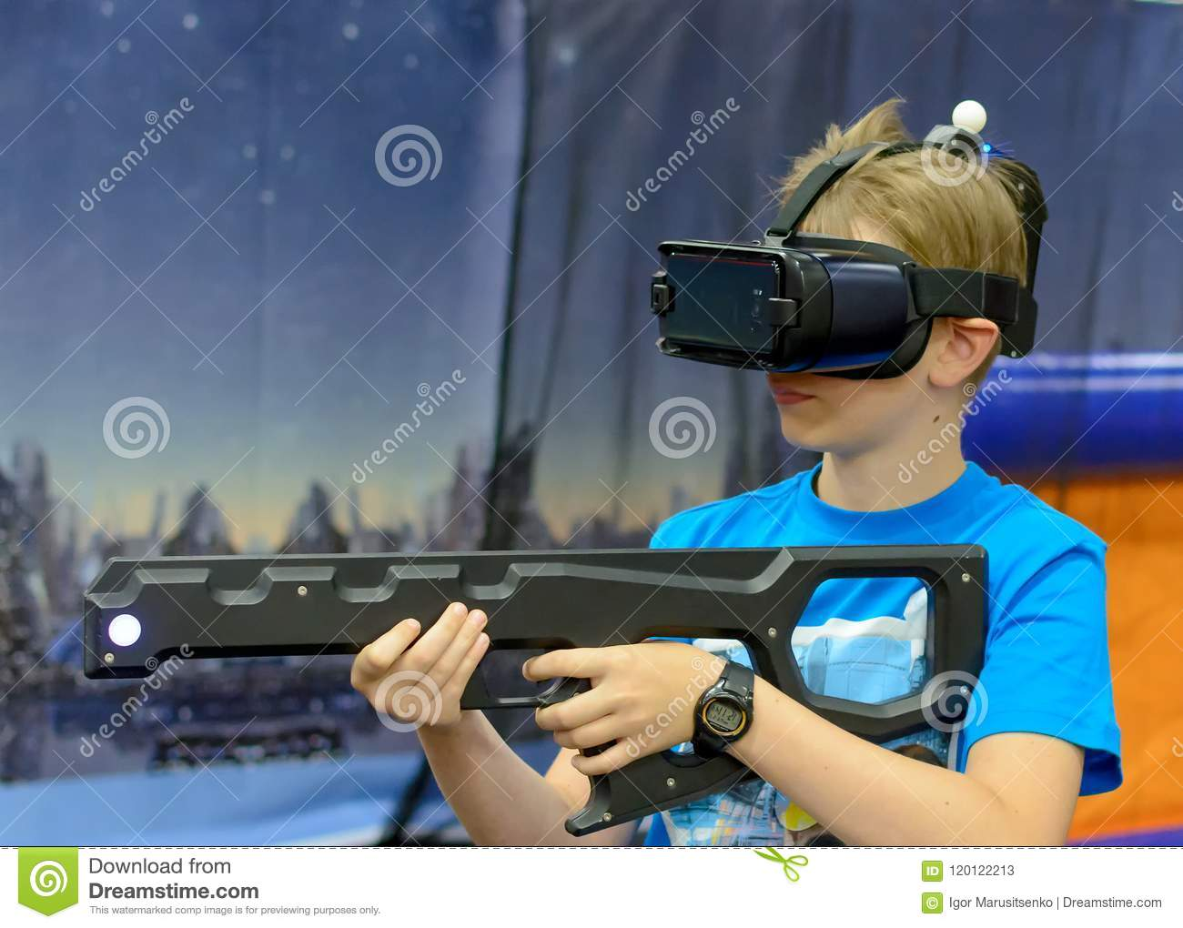 Boy In Virtual Reality Glasses With Gun Stock Image - Image of gamer