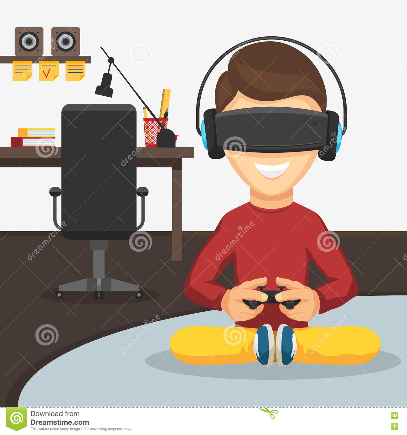 Boy In Virtual Reality Glasses Stock Vector - Illustration