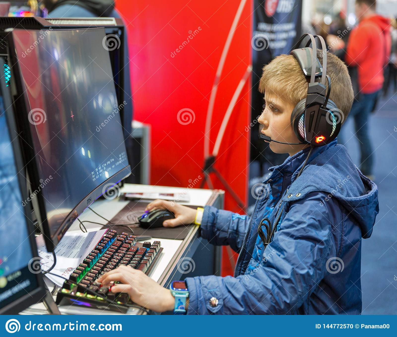 Boy Visit MSI Booth During CEE 2019 In Kyiv Ukraine Editorial Image